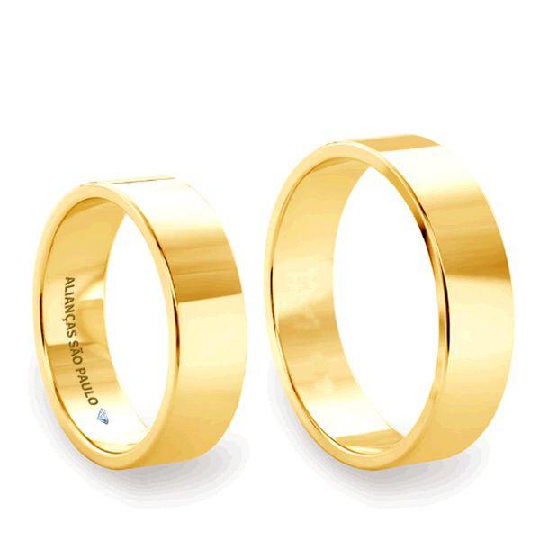 Alianças Quadrada Casamento Ouro 6mm - A036
