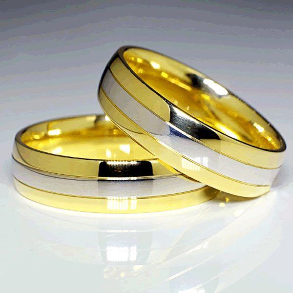Alianças Casamento Ouro Branco e Amarelo Acabamento Liso 6mm - A094