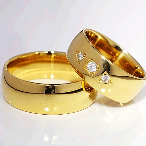 Alianças Casamento Baratas Ouro Lisas 8mm - A112