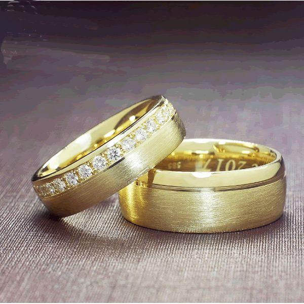 Alianças Casamento Noivado Ouro com Pedras 6mm - A188