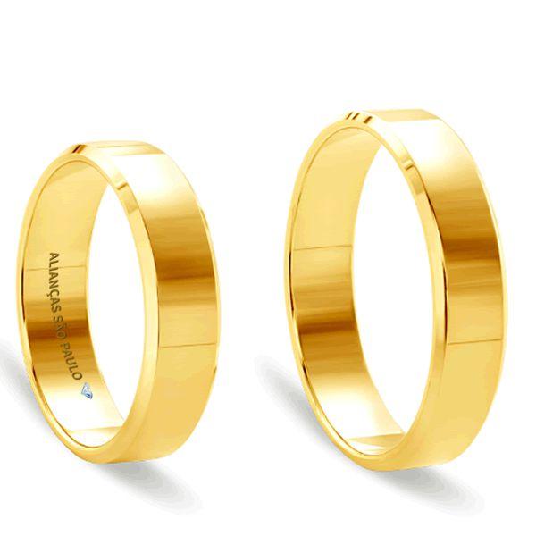 Alianças Casamento São Paulo Ouro Acabamento Liso 5,5mm - A044