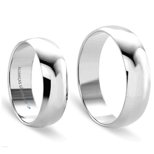 Alianças Casamento Ouro Branco Acabamento Liso 5mm - A068