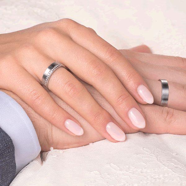 Alianças Compromisso Casamento Ouro Branco Quadrada 6mm - A160