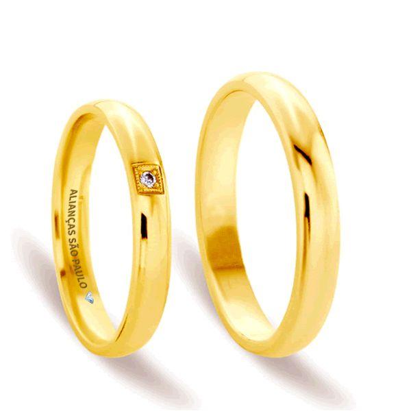 Alianças Tradicionais Noivado Ouro com Zircônia 4,5mm - A034