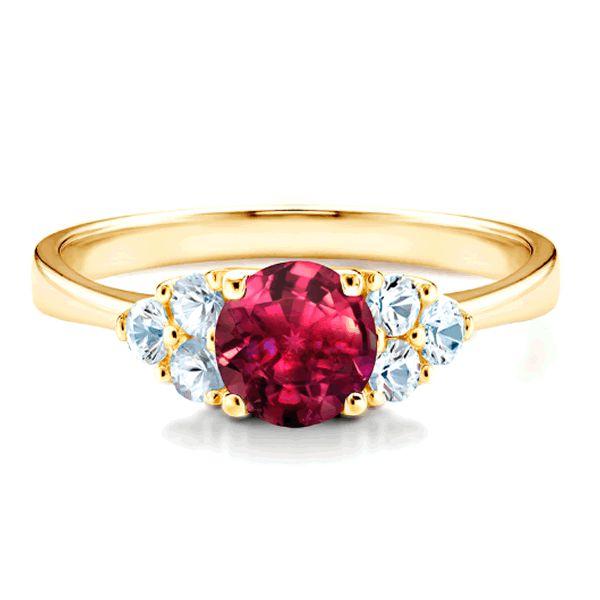 Anel Ouro Noivado com Pedra Vermelha 3mm - A206