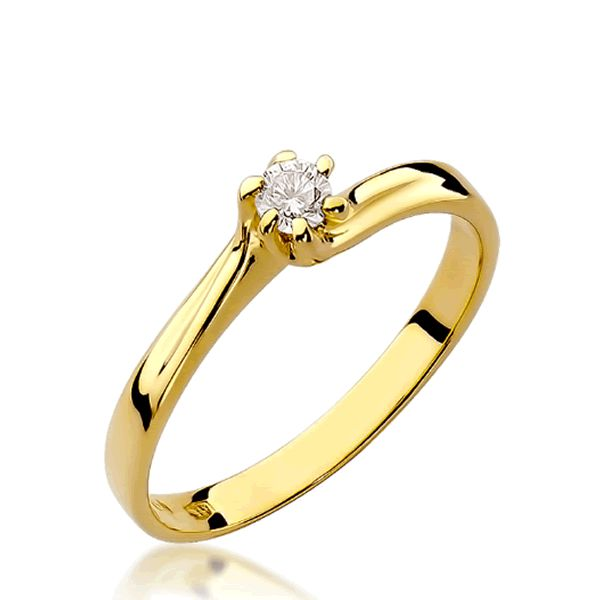 Anel Noivado Ouro Amarelo com Diamante - A224