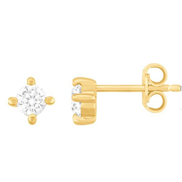 Brincos Ouro Amarelo com Zircônias - A266