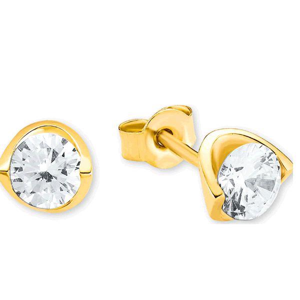 Brincos Ouro Amarelo 18k com Diamantes - A256
