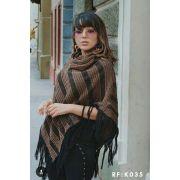3 Poncho De Tricot Com Franja Moda Feminina  Atacado KT12