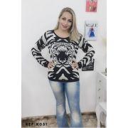 blusa de frio feminina onça tricot atacado revenda K239