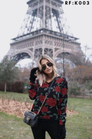 Blusa de frio flor tricot moda blogueira revenda