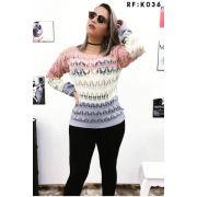 Blusa de frio lã malha tricot moda inverno K105