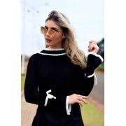 blusa de tricot lacinho no punho moda blogueira