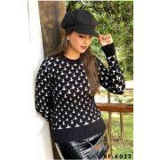 Blusa Trico coração 3 D Moda Blogueira promoção K159