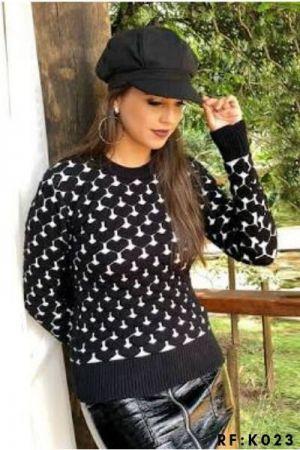 Blusa Trico coração 3 D Moda Blogueira promoção