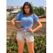 Atacado kit 3  cropped blusinha tricot verão online promoção k549