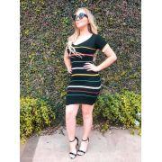 vestido estilo modal de verão manga curta listrado direto da fabrica
