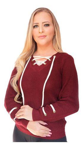 blusa tricot inverno cordão e ilhós detalhe na manga