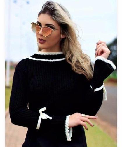 b64c62825 atacado blusa tricot revenda sueter malha feminina - - Material da blusa:  tricot de inverno manga longa onça - Modelo: blusas de frio feminina atacado  ...