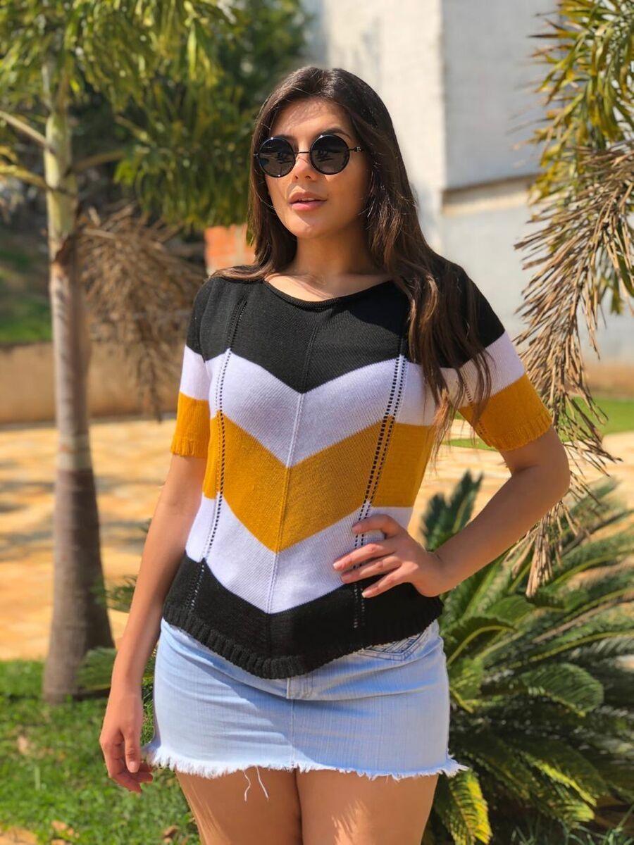Atacado kit 3  cropped blusinha tricot verão moda feminina k533