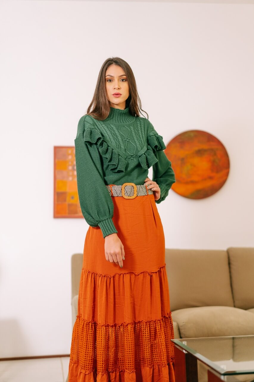 Blusa babado moda blogueira atacado loja do tricô