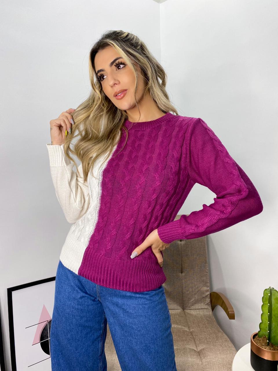 blusa bicolor detalhe trança tendência atacado loja do tricô