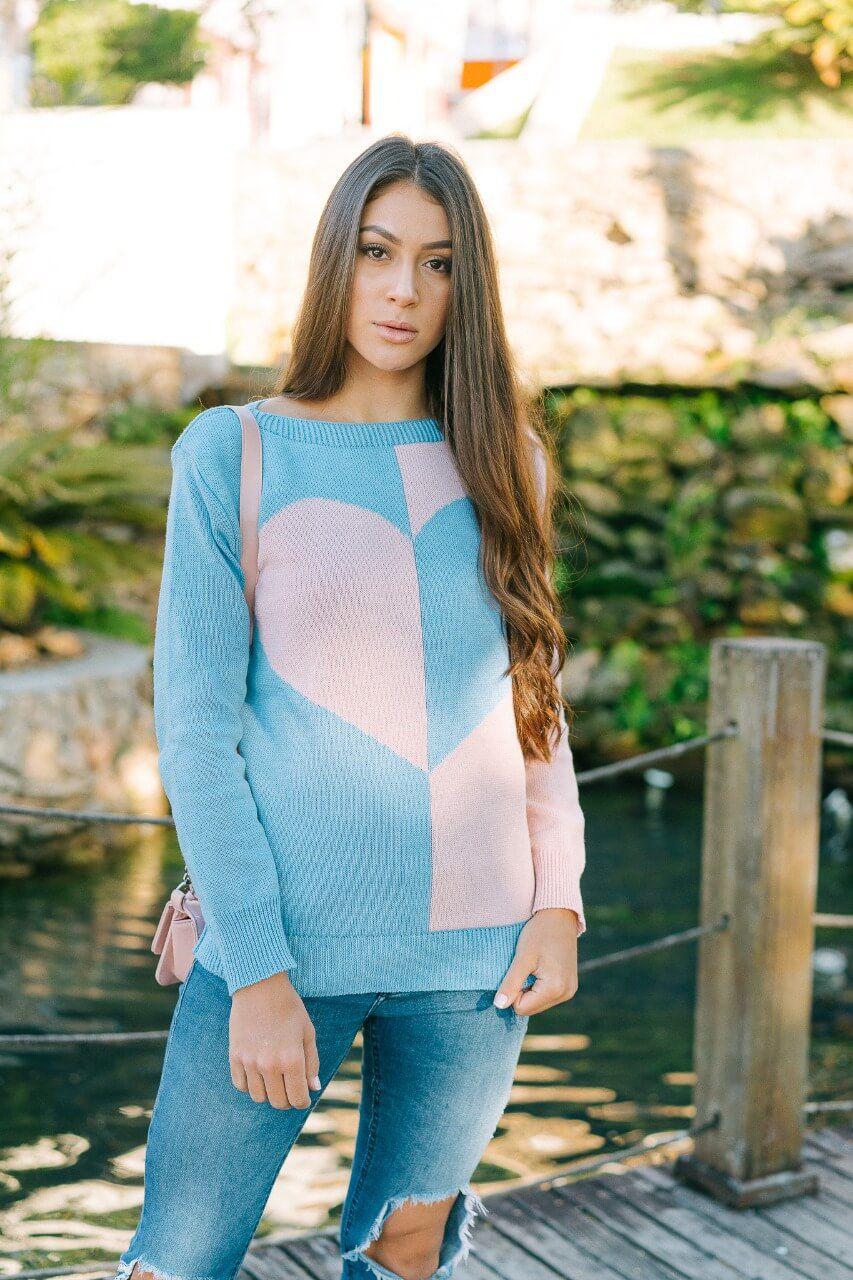 Blusa coração de Lã Loja do Tricô
