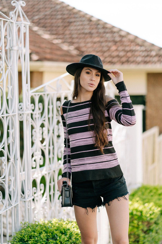 Blusa de elastano estilo modal ombro vazado loja do tricot