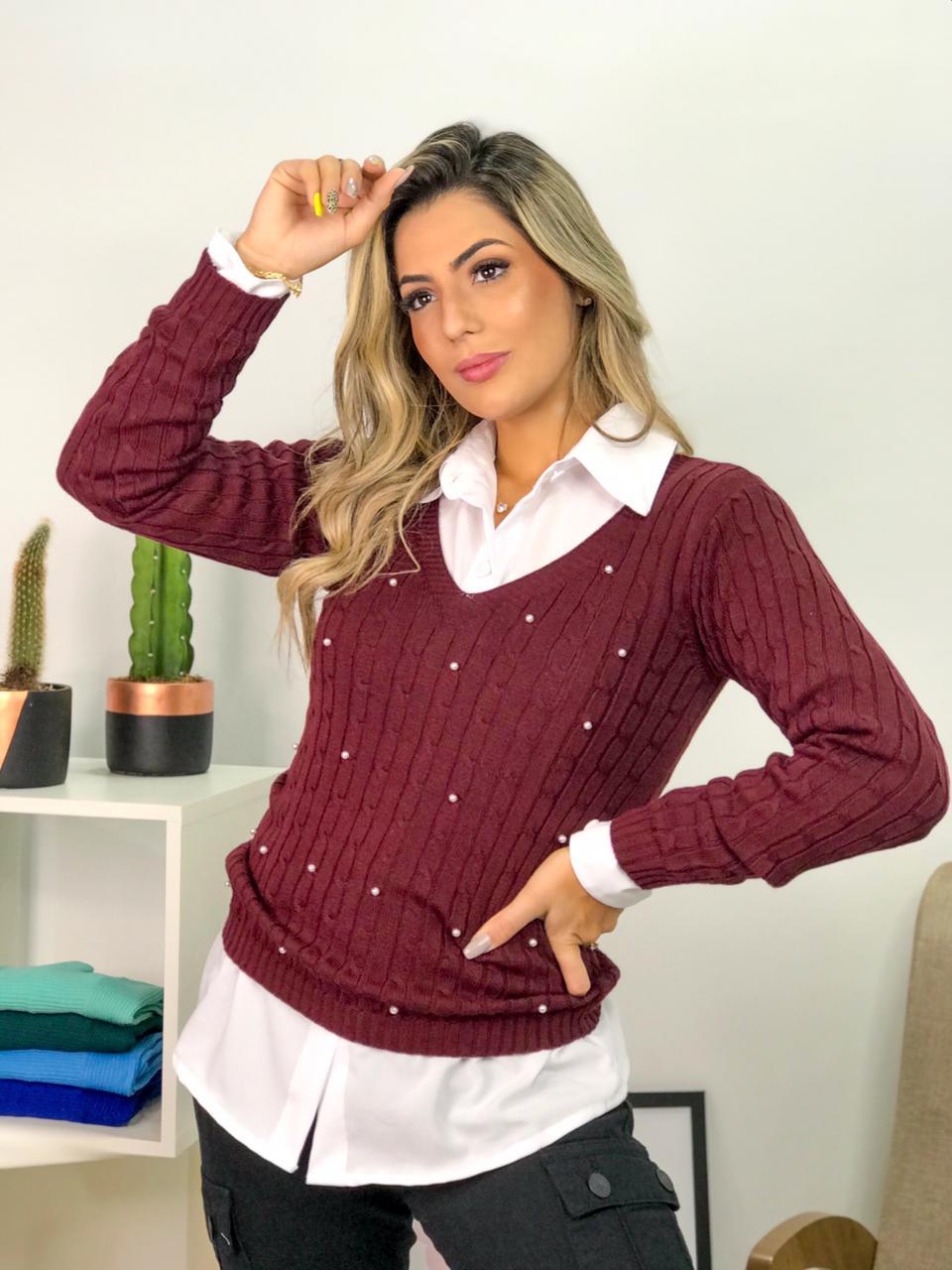 blusa de frio feminina tricot gola v com perolas atacado