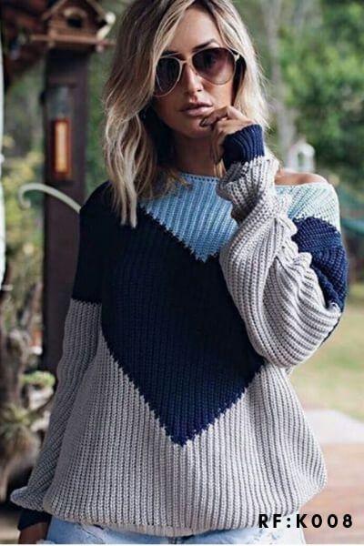 Blusa de frio moda blogueira tendencia Tricot Feminino K183