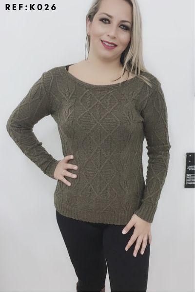 Blusa de mousse Tricot Feminina Inverno revenda K169