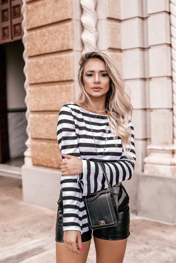 Blusa de tricô elastano estilo modal Inverno Feminina oferta