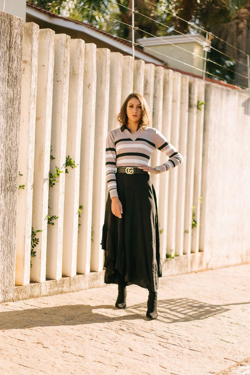 Blusa de trico listrada elastano gola v estilo modal