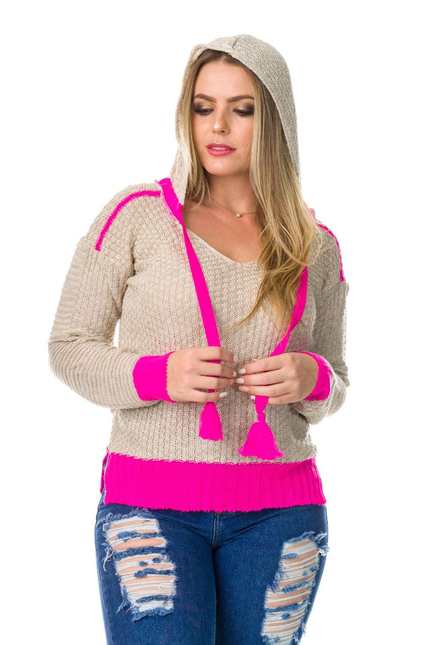 Blusa de tricot capuz loja do trico