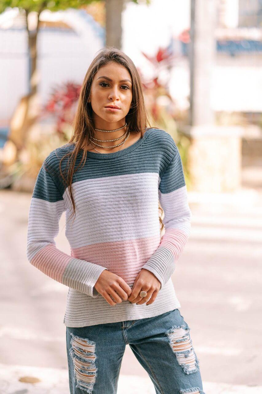blusa de tricot colorida  lançamento loja do tricô