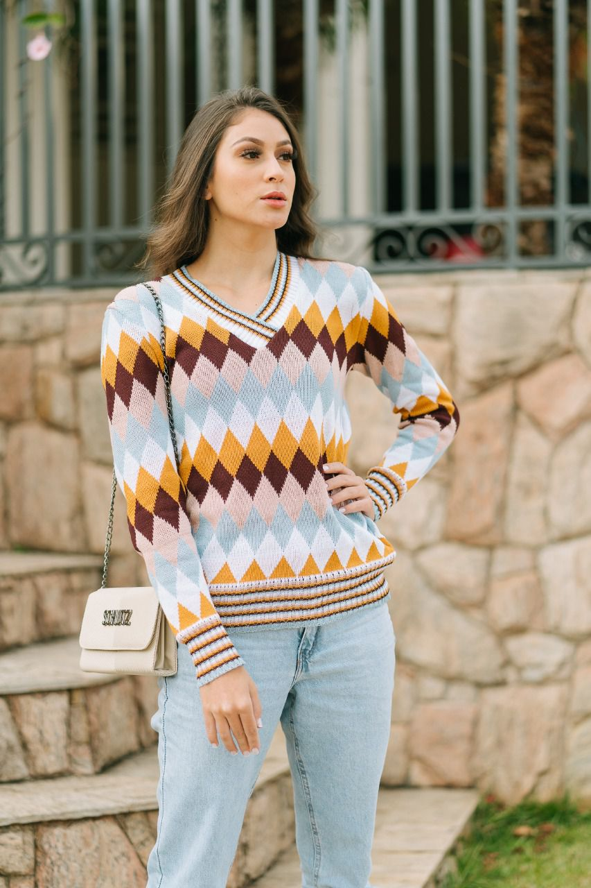 Blusa de tricot de losango moda teen