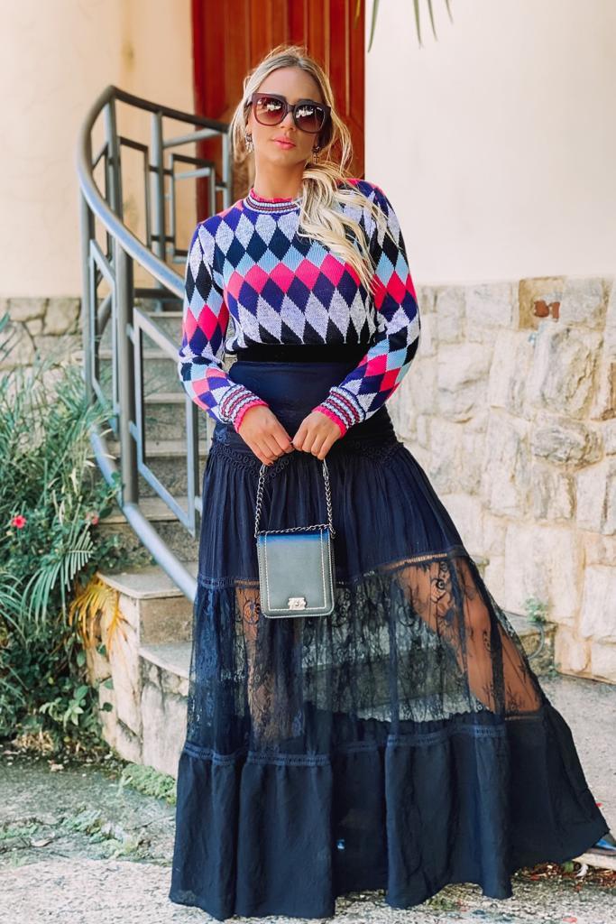 Blusa de tricot frio moda blogueira atacado direto da fabrica