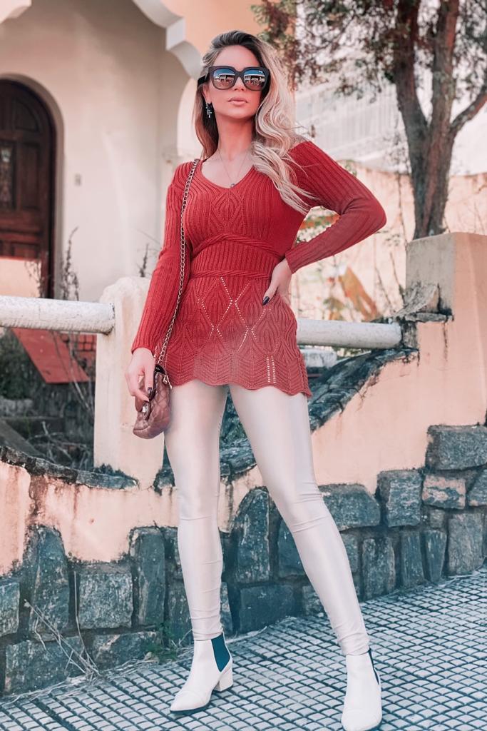 blusa de tricot frio ombro vazado moda inverno
