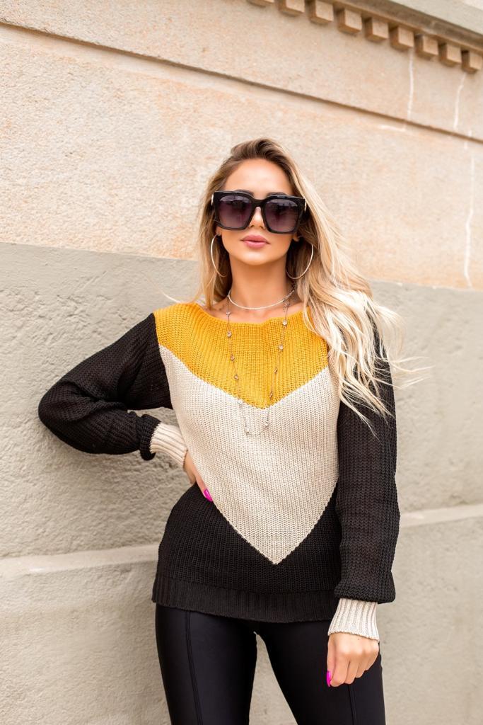 Blusa de tricot inverno cardigan manga longa