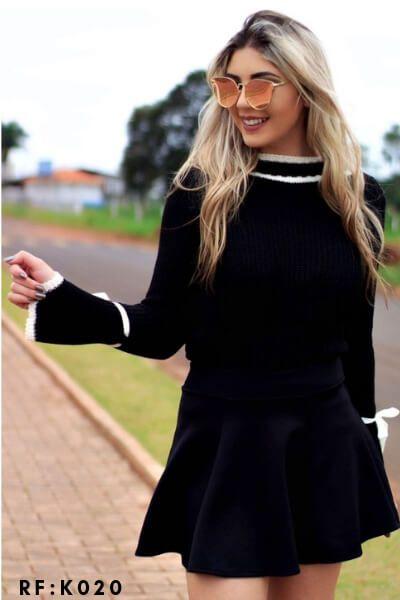 blusa de tricot lacinho no punho moda blogueira k483