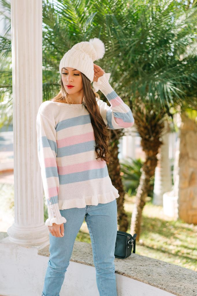 blusa de tricot listrada botão na manga atacado loja online