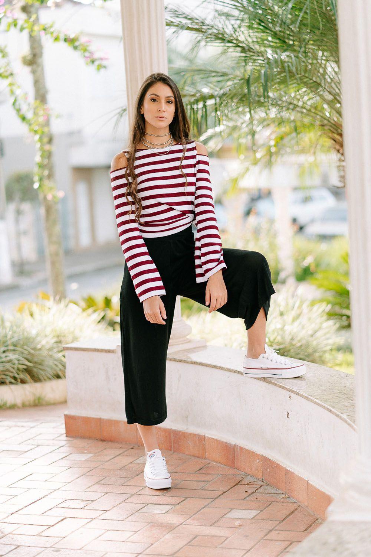 blusa de tricot listrada elastano com modal loja do tricô