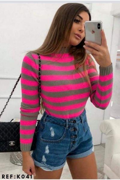 blusa de tricot listrada moda blogueira inverno revenda K215