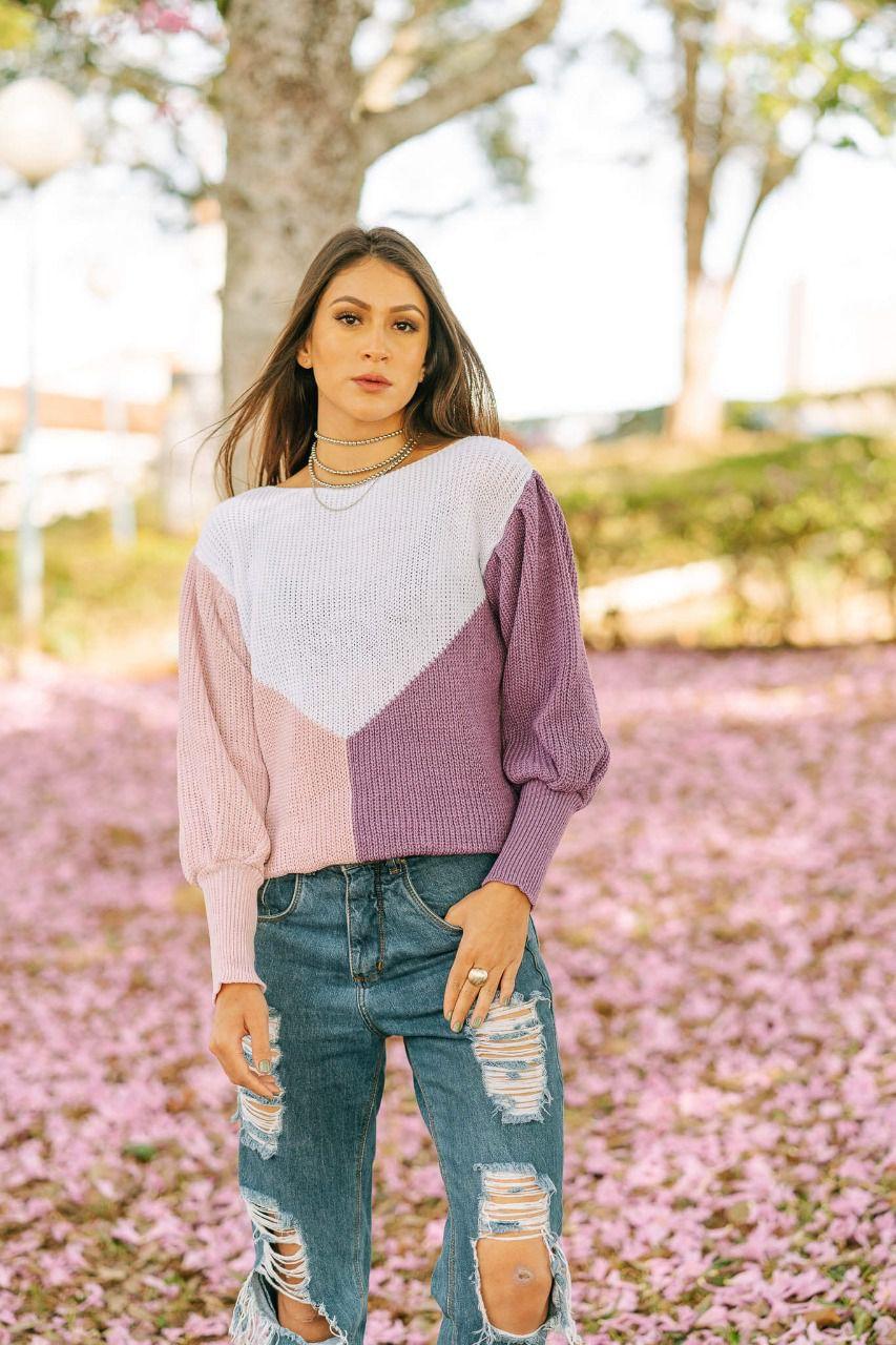Blusa de tricot moda blogueira tendência loja do trico
