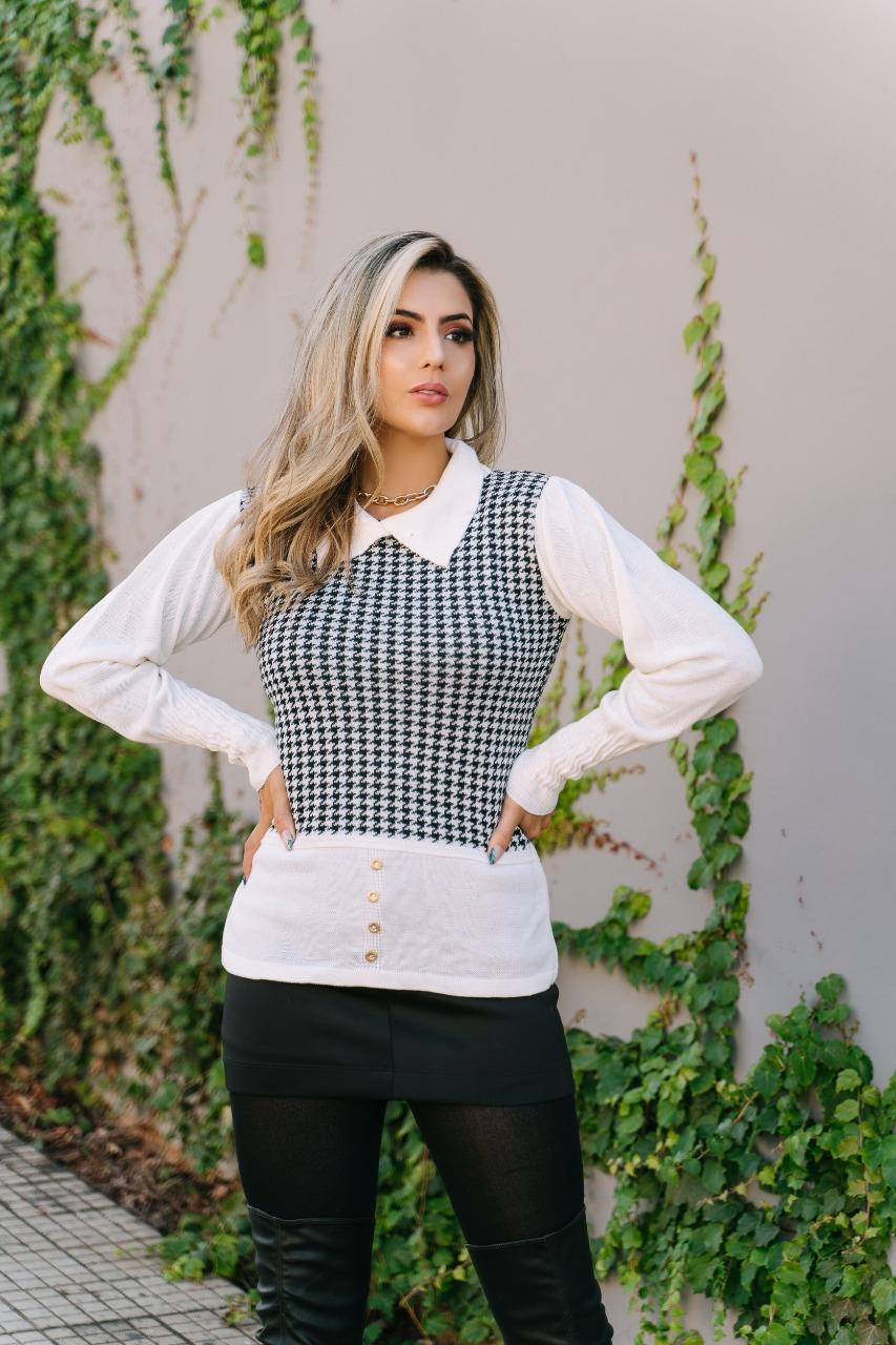 blusa de tricot pied poule gola polo imita camisa atacado
