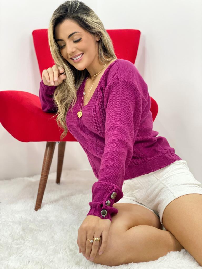 blusa feminina de frio com botão na manga tricot lançamento