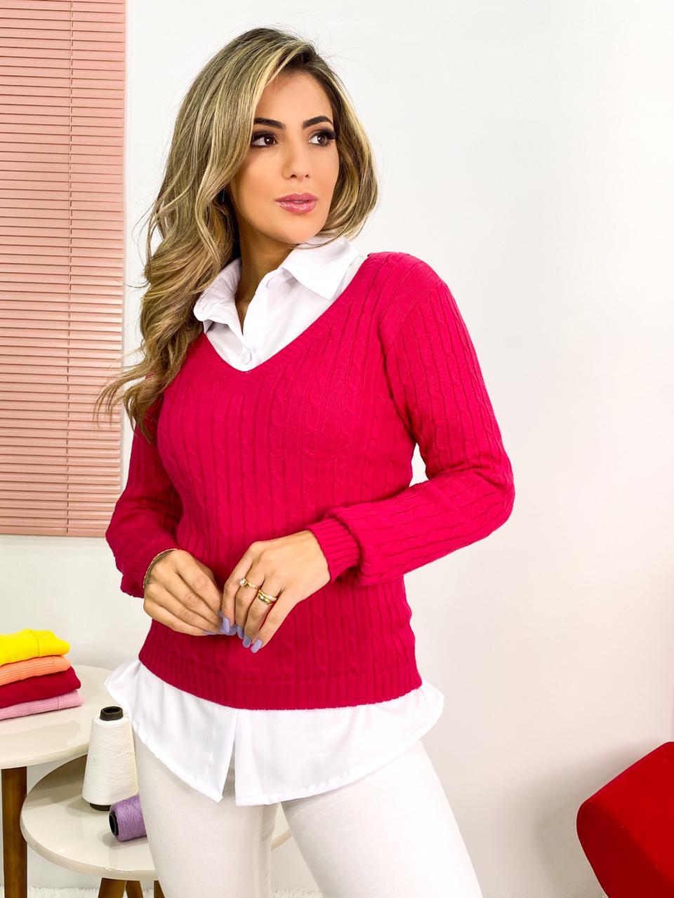 blusa feminina de frio tricot atacado gola v loja do tricô