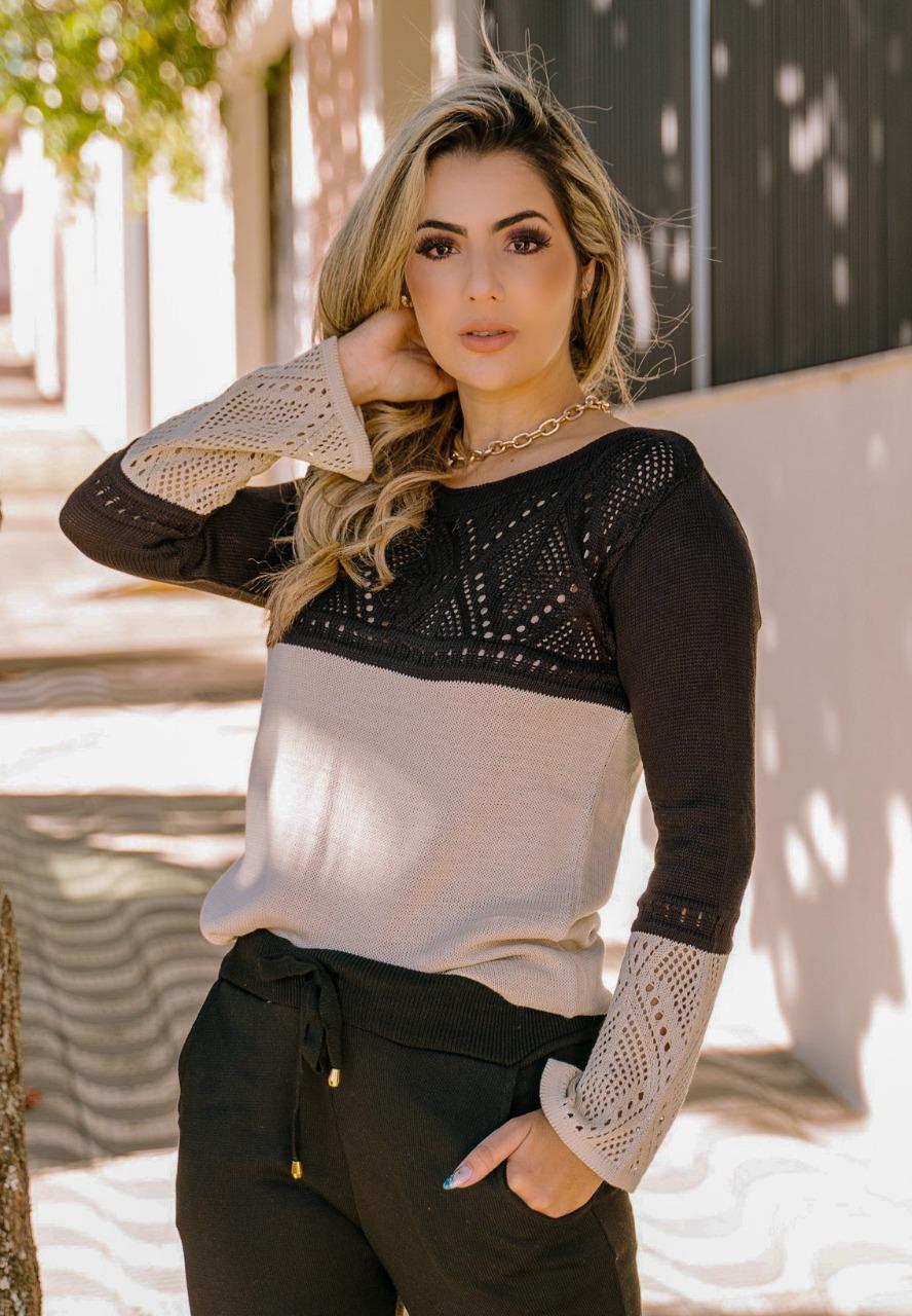 blusa feminina de frio tricot lançamento loja do tricô