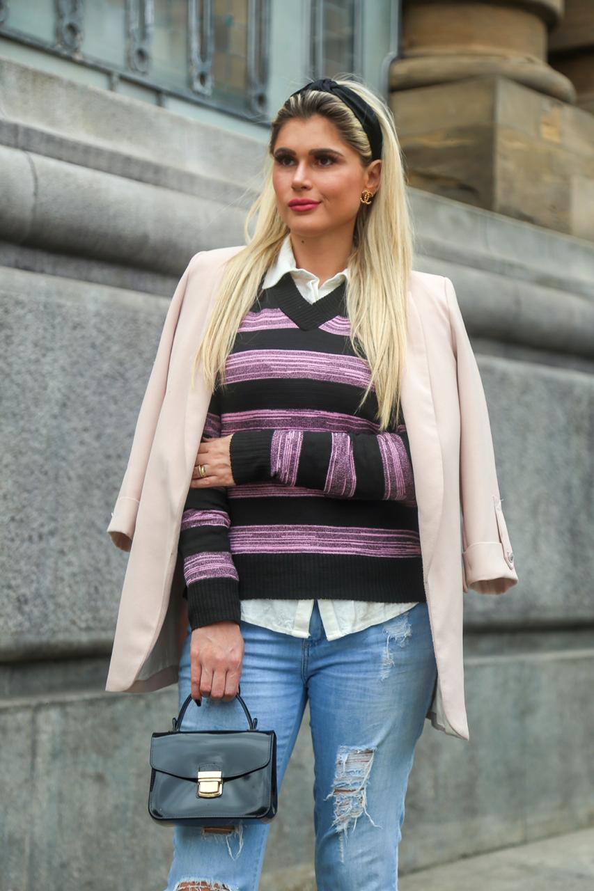 blusa gola v elastano estilo modal lançamento loja do tricô