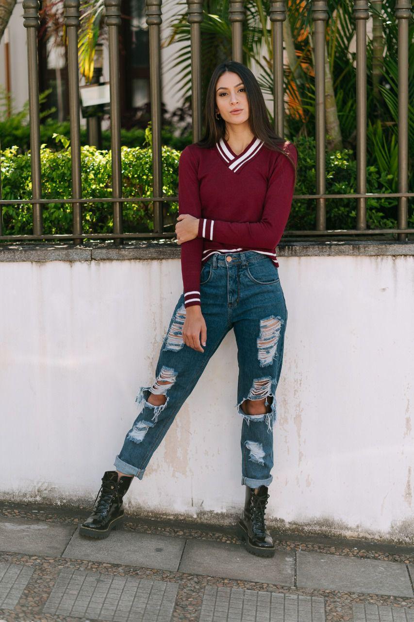 Blusa gola v elastano estilo modal moda teen